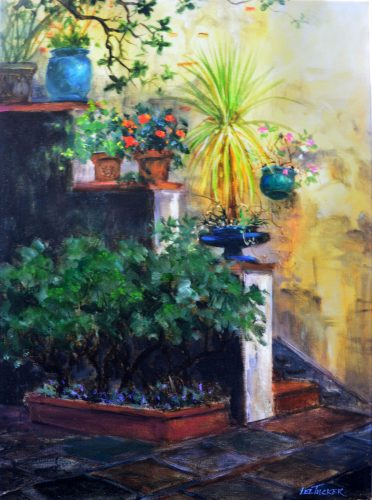"Basque Courtyard<br>giclee painting hand embellished by the artist<br>18"" x 24"" stretched canvas, $460.00, S/H $45.00"