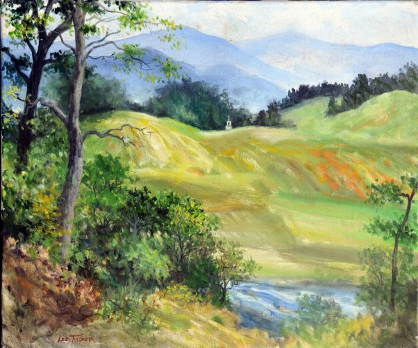 "Church on the Hills<br>original acrylic on 24"" x 30"" stretched canvas<br>$2200.00, $45.00 S/H $45.00"