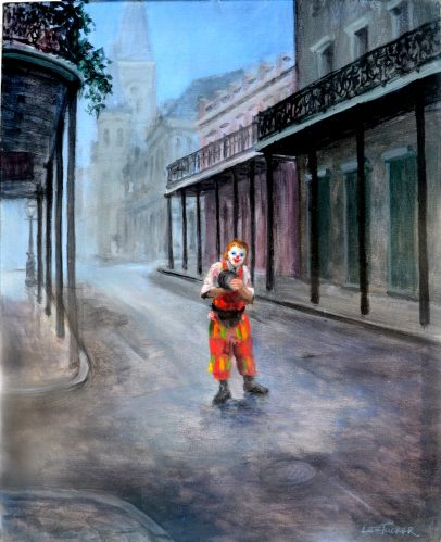 "Clown Town<br>original painting on stretched canvas 24"" x 30""<br>$1800.00, S/H $45.00"