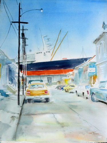 "Congress St. Warf<br>original watercolor painting, 18"" x 24""<br>$375.00,S/H $26.00"