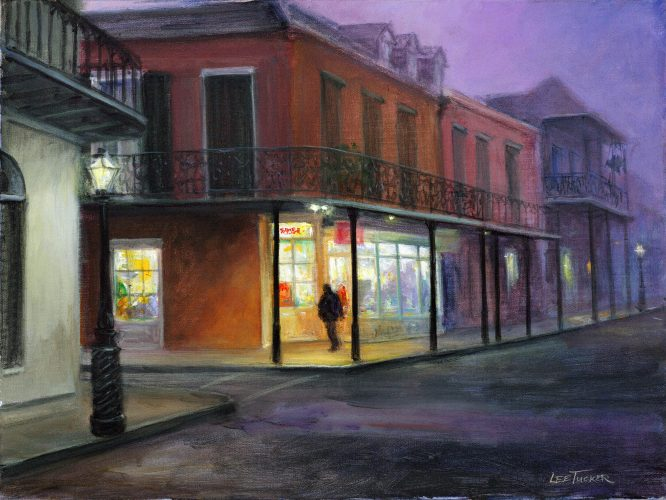 "Decatur Street<br>hand embellished giclee, 18"" x 24"" on stretched canvas<br> $475.00 S/H $45.00"