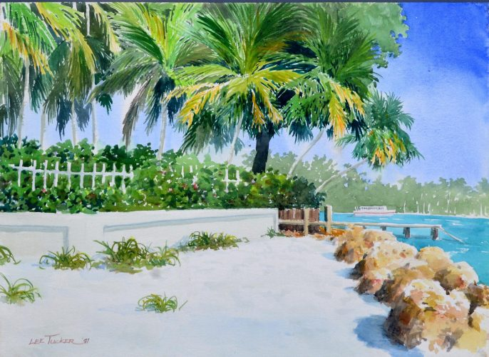 "Ferry to St. Marcos Island<br>original watercolor 18"" x 24"" $455.00, S/H $18.00"