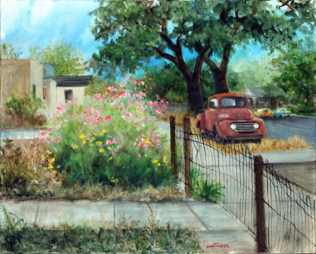 Ford and Flowers<br>hand embellished giclee on stretched canvas<br>$650.00, S/H $45.00, sold