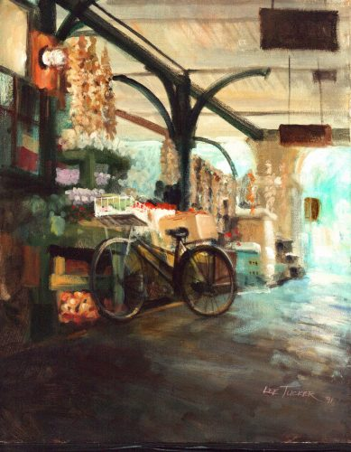 """The Old French Market""<br>giclee painting hand embellished by the artist stretched canvas <br>18""x24"", $875.00,S/H $45.00"