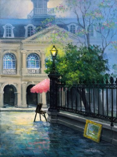 "Cabildo in the Morning<br>giclee painting hand embellished by the artist, <br>18"" x 24"", $475.00"