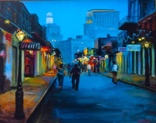 "Bourbon Street Lights<br>giclee painting hand embellished on stretched canvas, 24"" x 30""<br>$550.00, S/H $45.00"