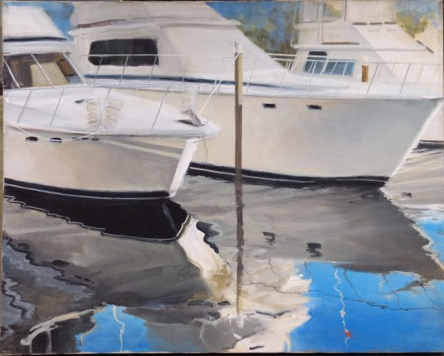 "Boats and Reflections<br>original acrylic painting on stretched canvas 24"" x 30""<br>$2300.00, S/H $45.00"