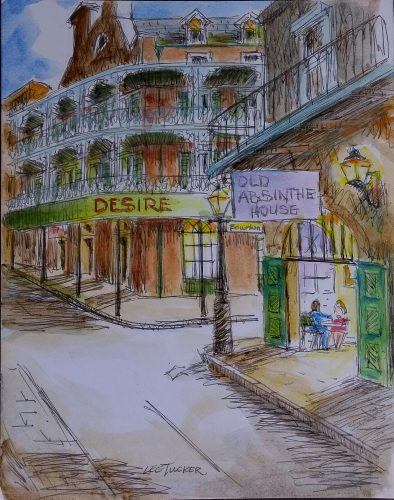 "Bourbon St. In the French Quarter<br>original ink and watercolor painting<br>10"" x 13"" on acid free paper board<br>$225.00, S/H $18.00"