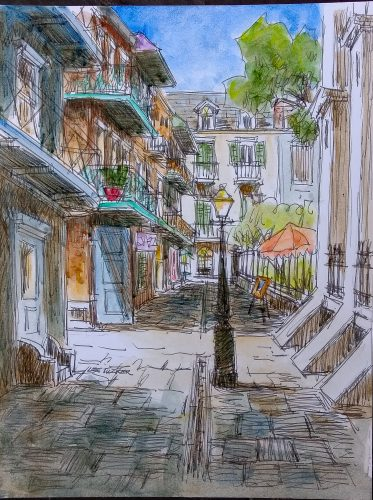 "Pirates Alley ln the French Quarter<br>original ink and watercolor painting<br>10"" x 13"" on acid free paper board<br>$225.00, S/H $18.00"