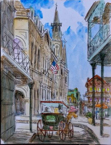 "Jackson Square in the French Quarter<br>original ink and watercolor painting <br>10"" x 13"" on acid free paper board<br>$225.00, S/H $18.00"