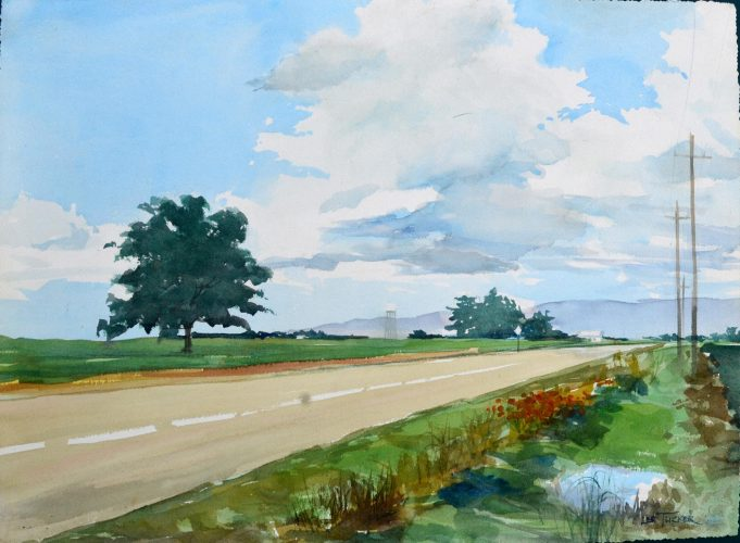 "A Road to Urbana<br>original watercolor<br>18"" x 24"", $525.00"