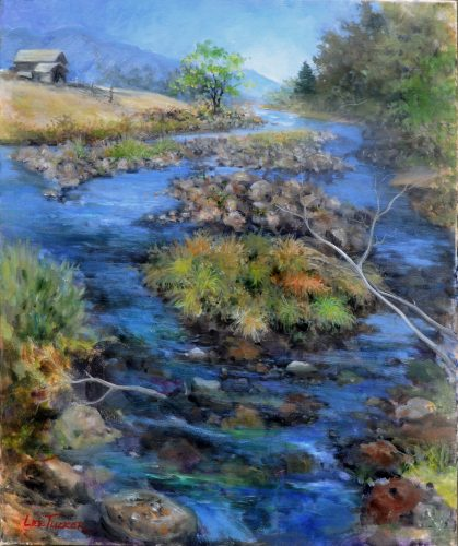 "Rocks on the River<br>original acrylic on 24"" x 30"" stretched canvas<br>$1,800.00, S,/H $45.00"