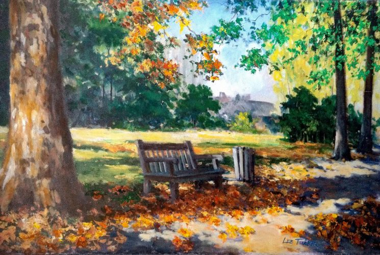 "Rusell Square<br>enhanced giclee painting 24"" x 36"" on stretched canvas<br>$725.00, S/H $45.00"