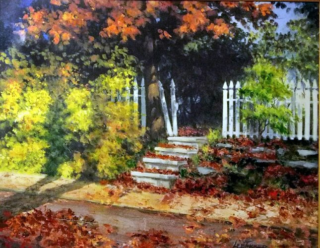 "Fall Leaves<br>giclee painting hand embellished on stretched canvas, 24"" x 30""<br>$550.00, S/H $45.00"