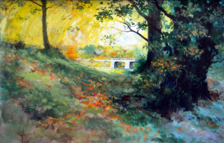 "Fall Creek, Wales <br>$3,500 original acrylic 24""x36"", S,/H $65.00"