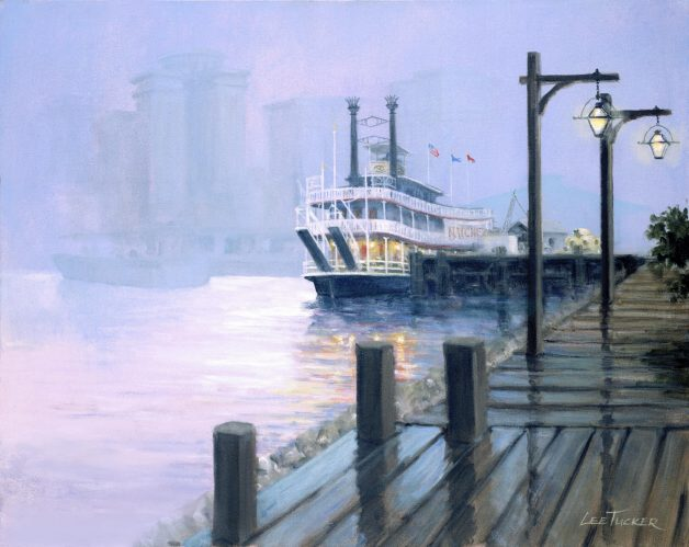 "Moonwalk to the Steamboat Natchez<br> giclee painting hand embellished by the artist<br>24"" x 30"" $650.00, $45.00 S/H"