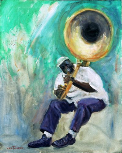 """Tuba Fats"" <br>giclee painting hand embellished by the artist on 24""x30"" stretched canvas<br>$1200.00"