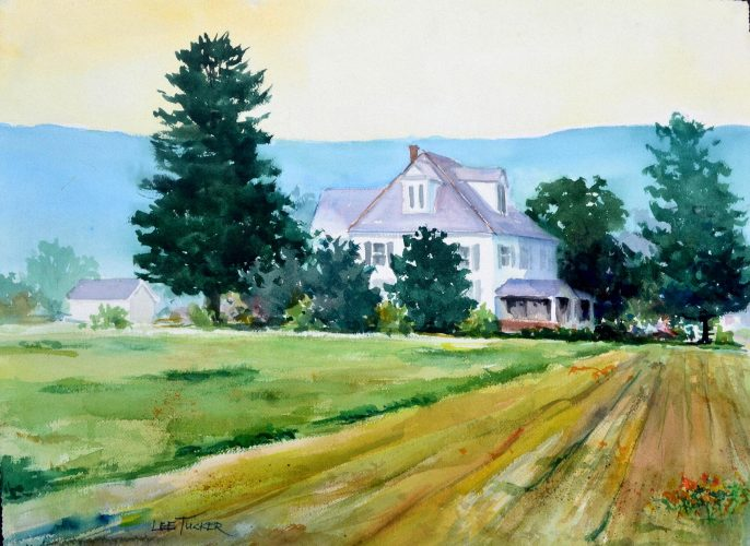 "Farmstead in Virginia<br>original watercolor, 28"" x 24""<br>$950.00, S/H $18.00"