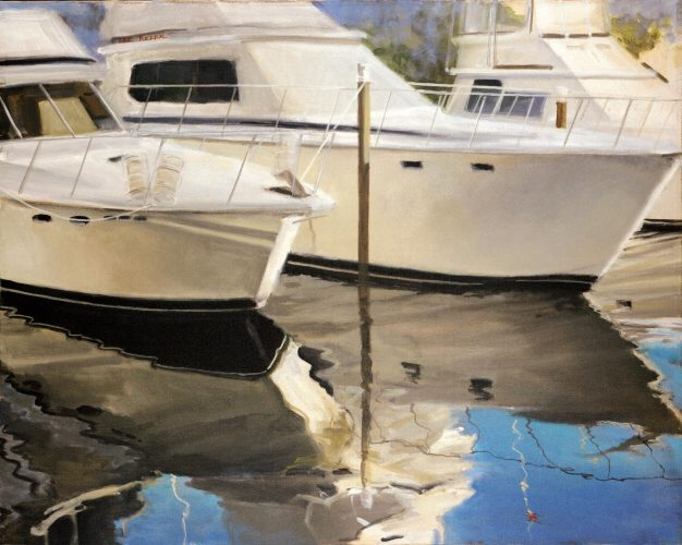 "Boats and Reflections<br>original acrylic on stretched canvas, 24""x 30"" $2,700.00, S/H $45.00"