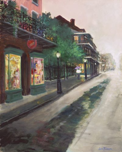 "Rue Royal<br>giclee painting hand embellished by the artist on 24"" x 30"" stretched canvas<br>$550.00, S/H $45.00"
