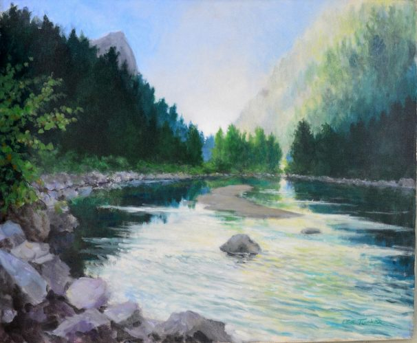 "Mountain Lake<br>original acrylic on 24"" x 30' canvasbr> $1800.00, $45.00 S/H"
