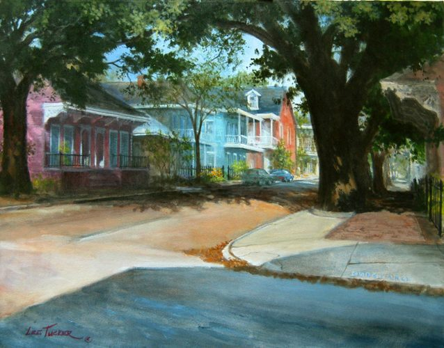 "Neighborhood<br>giclee painting hand embellished by the artist <br>on 24"" x 30"" stretched canvas, $650.00"