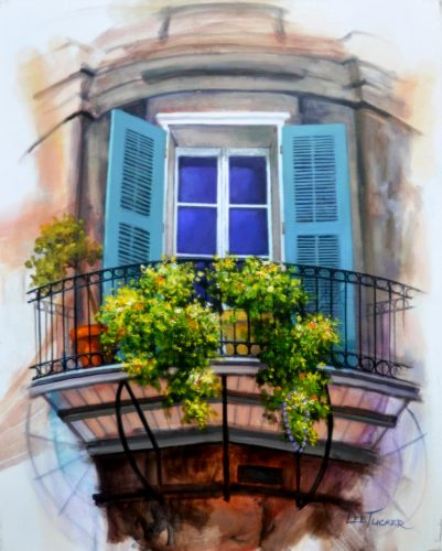 "Skyscraper Window Circa 1780<br>giclee painting on stretched canvas hand embellished<br>by the artist 24"" x 30"", $650.00"
